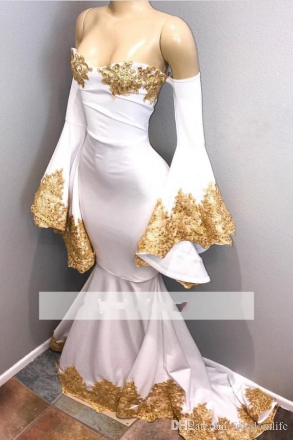 New Design White Prom Dresses Long Sleeves Off Shoulder Mermaid ...