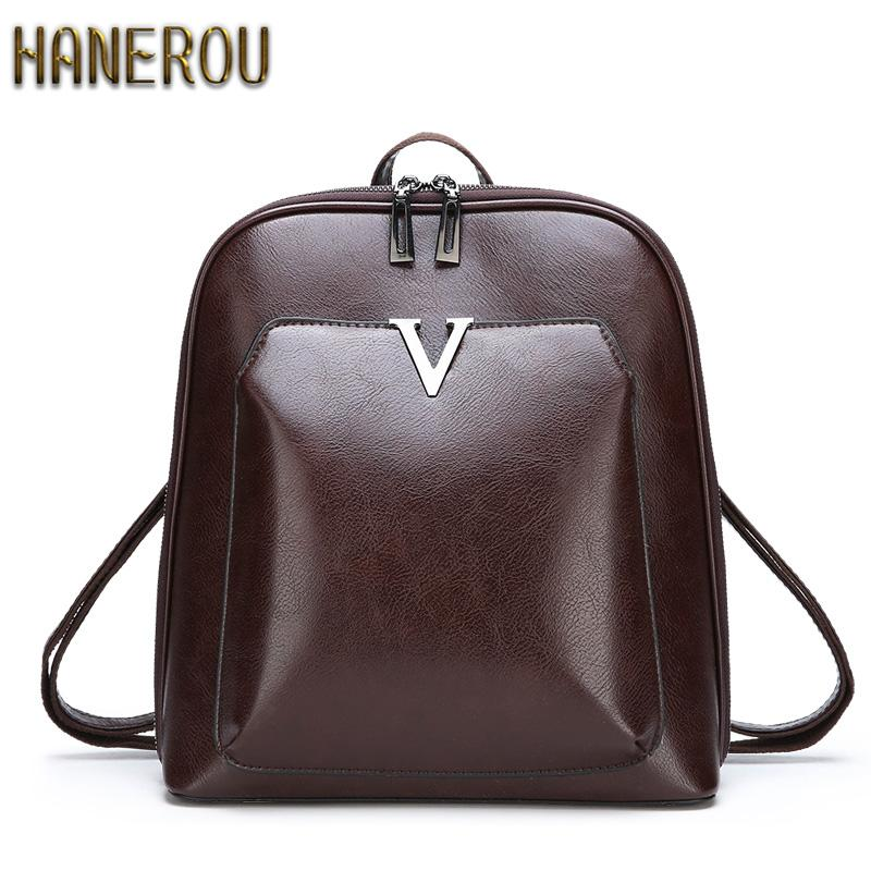 bf59cf96c3 Famous Brand Backpack 2018 New Women Backpacks Solid Fashion School Bags  For Girls PU Leather Backpack Mochilas Mujer Sac A Dos Backpacks For  College ...