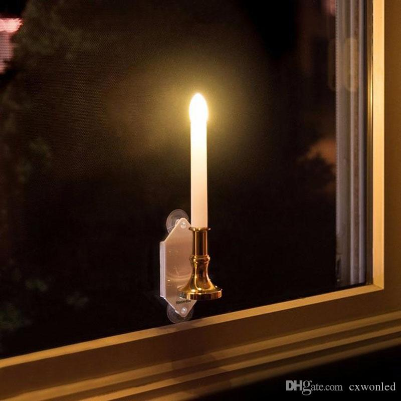 Solar Powered Led Bulb Lamp Solar Candle With Panel Window Decorative Lighting On Window Fashion Flick Candles 2 Modes Be Twinkle