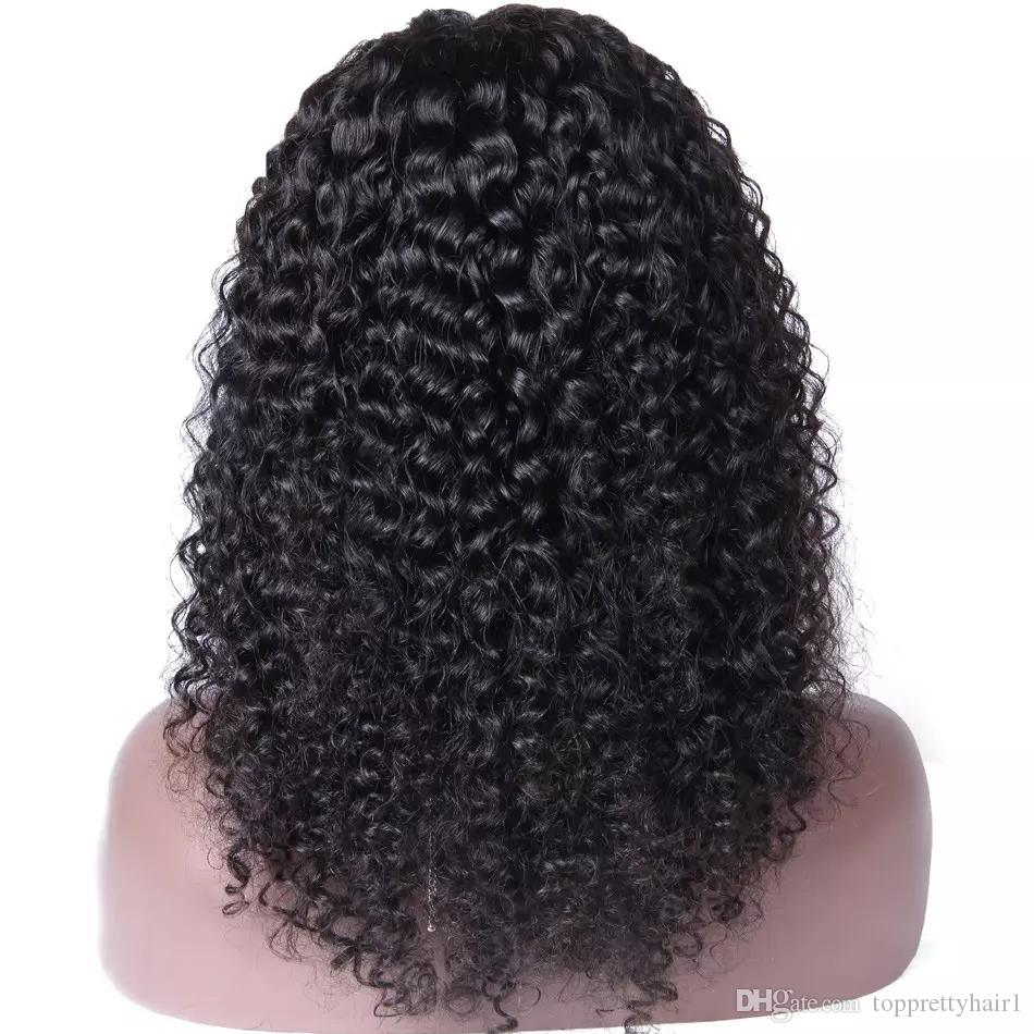 Virgin Peruvian Kinky Curly Full Lace Wig African American Side Part Natural Hairline Human Hair Kinky Curly Front Lace Wigs