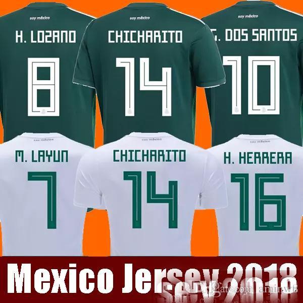 New Arrived 2017 2018 Mexico Soccer Jersey Home Away 17 18 Green CHICHARITO  Camisetas De Futbol Hernandez G DOS SANTOS Football Shirts UK 2019 From  Aminwu d7d36bd50