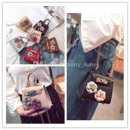 Girls Bag 2018 Cute Flower Chain Bag Fashion Handbag Kids Leather Purses  Teenagers Handbag Baby Girls Mini Cross Body Handbags Kids Handbags Fashion  Bags ... 3a52347308