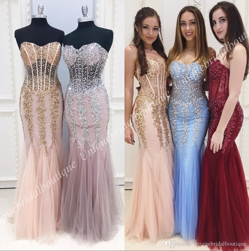 Sparkle Mermaid Prom Dresses 2k18 Sweetheart Neckline Real Pictures ...