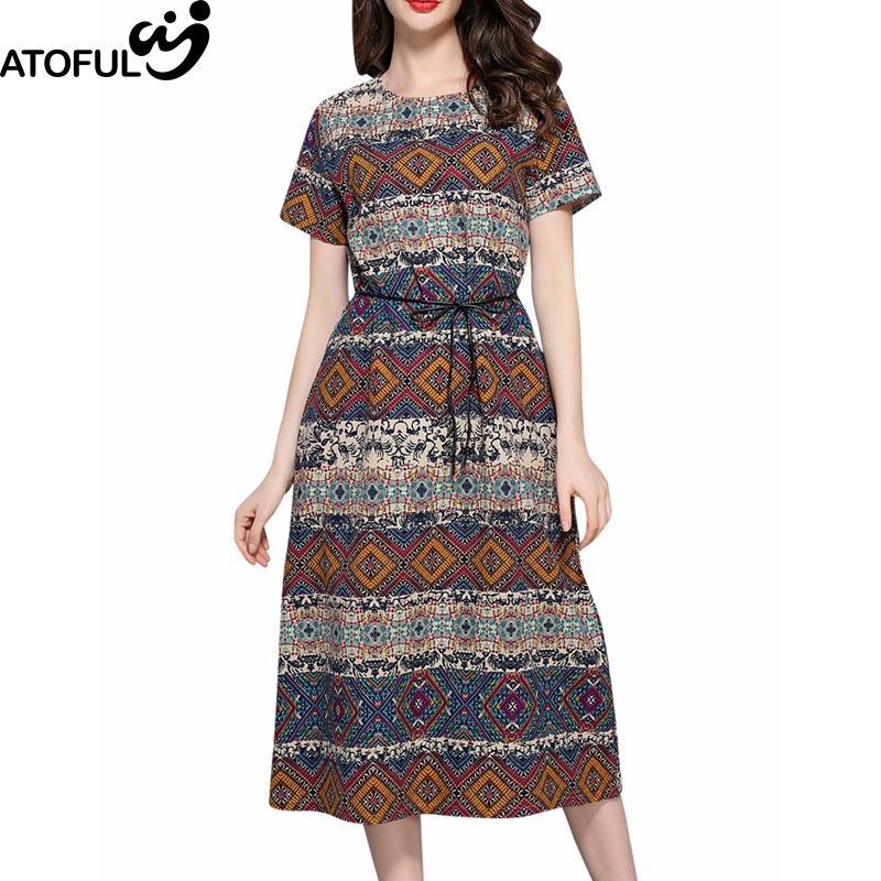 72795c9ee985b ATOFUL Women Dress Ethnic Style Multicolor Geometric Print Pattern Dress  2017 Short Sleeve Loose Casual Plus Size 4XL 5XL Junior Floral Dresses  Teens Party ...