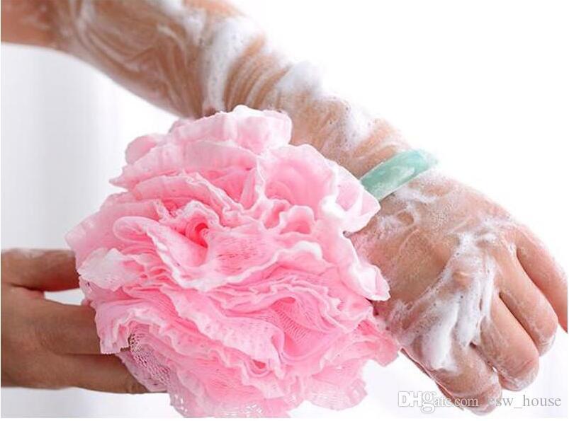 Malla de encaje Puf Esponja bola Baño Spa Manija Cuerpo Ducha Scrubber Bola Colorido Baño Cepillos Esponjas envío gratis