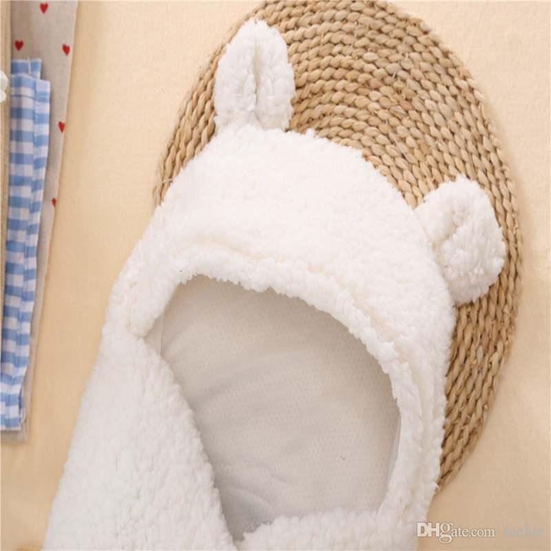 INS Autumn winter Infant children super soft plush lamb wool blankets sleeping bags velvet baby Infant baby supplies white and pink
