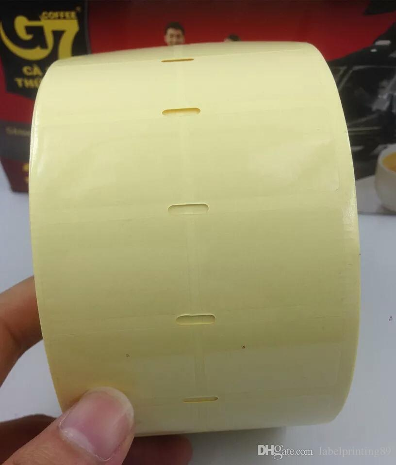 70*40mm /roll blank clear or transparent PVC office barcode self adhesive sticker label for printer