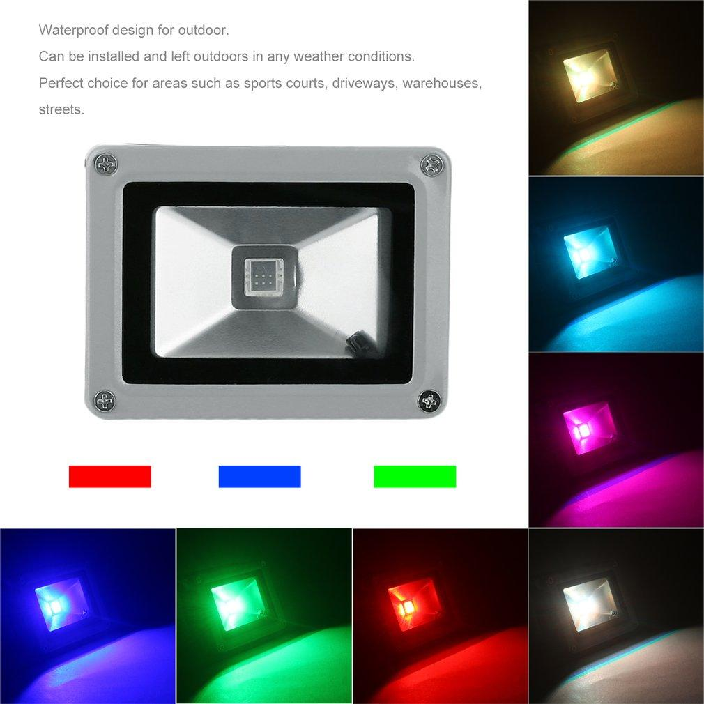Floodlights 10w Rgb Led Flood Light Outdoor Lighting Color Changing The Tricolor Leds Can Be Mounted In Three Ways Through Remote Control Spotlight 85 265v Ip65 Us Plug Pir Floodlight Indoor