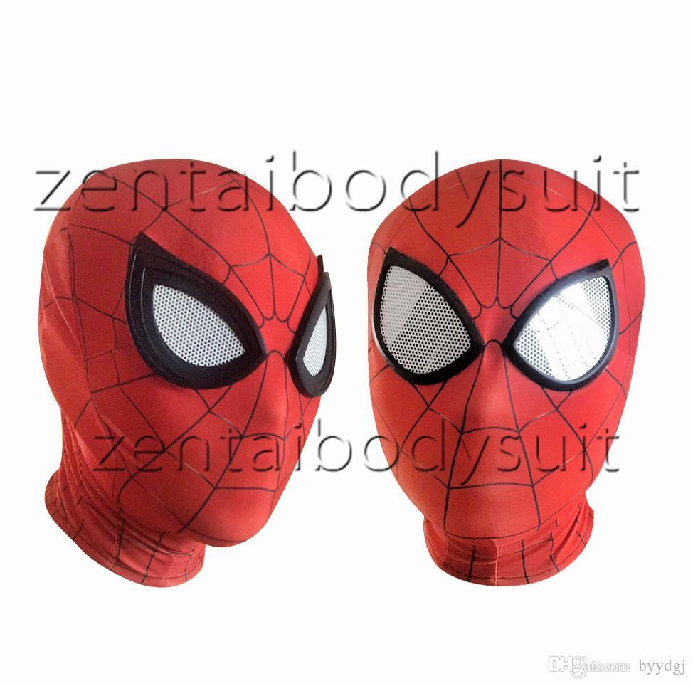 Iron Spiderman Maske Cosplay Kostüm 3d Druck Lycra Spandex Maske Rot Rot Erwachsene Größen Party Liefert Kostenlose Lieferung