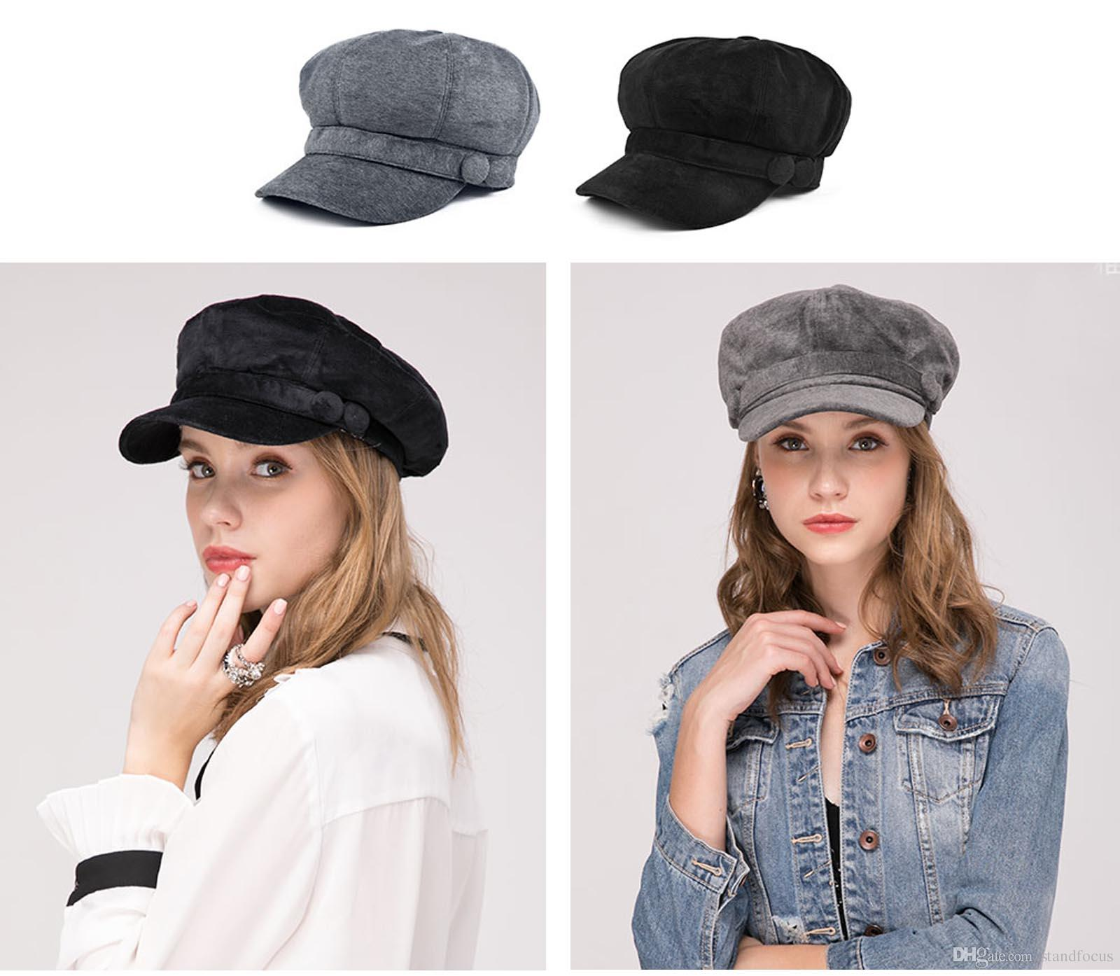 b3b806cd627f3 2019 Stand Focus Women Cabby Baker Boy Gatsby Velvet Hat Newsboy Cap Ladies  Fashion Fall Winter Spring Black Gray From Standfocus