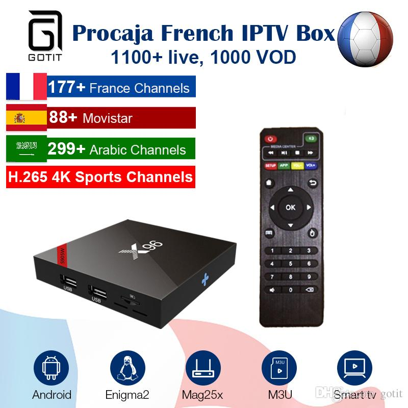 French IPTV X96 Android 6 0 TV Box with Pro caja IPTV subscription 4K HD  Smart TV Box Spain Arabic Holland UK Italy Media Player