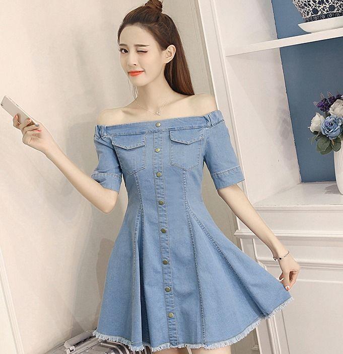 1877d289e4c Casual Off-Shoulder Korean Style Slim Summer A-line Sweet Women Denim Jean  Dress Online with  21.12 Piece on Angelsdress s Store