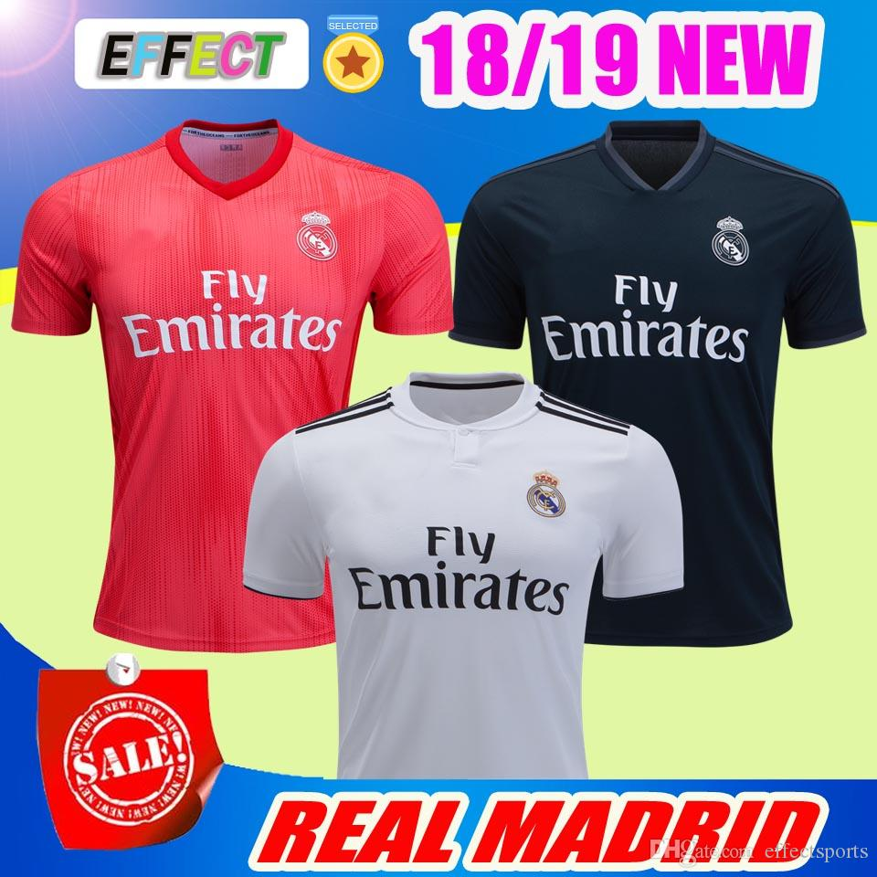 74bded15b 2018 Real Madrid Soccer Jersey 18 19 Home White Away Black Maillot De Foot  BALE RAMOS ISCO MARCELO ASENSIO KROOS Football Shirts RONALDO RONALDO 18 19  ...