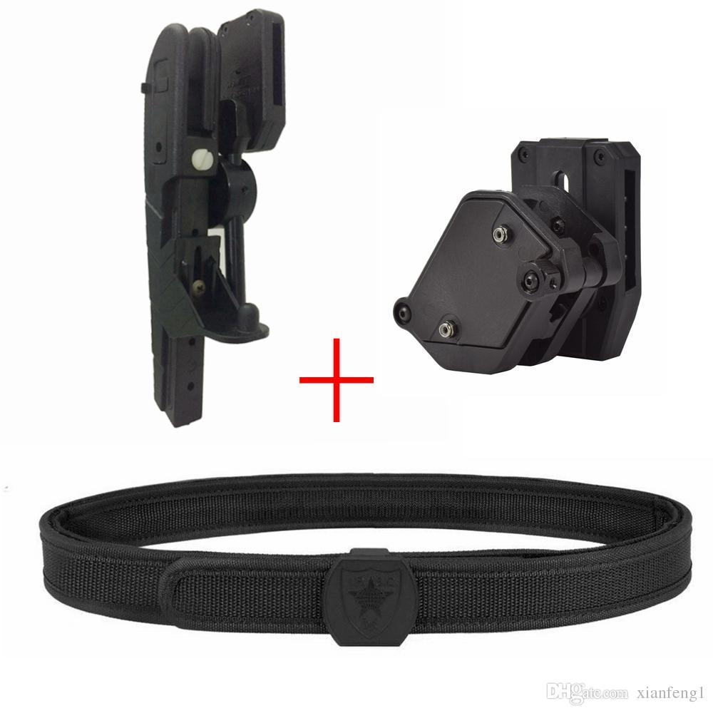 IPSC USPSA IDPA Competition High Speed Shooting Belt Quick Draw Pistol Gun  Holster Adjustable Angle 9mm Magazine Pouch - BLACK