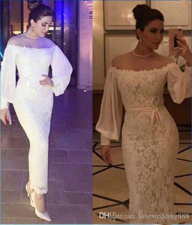 26cdf71a15d Vintage Off Shoulder Lace Evening Dresses 2018 Bateau Long Sleeves ...