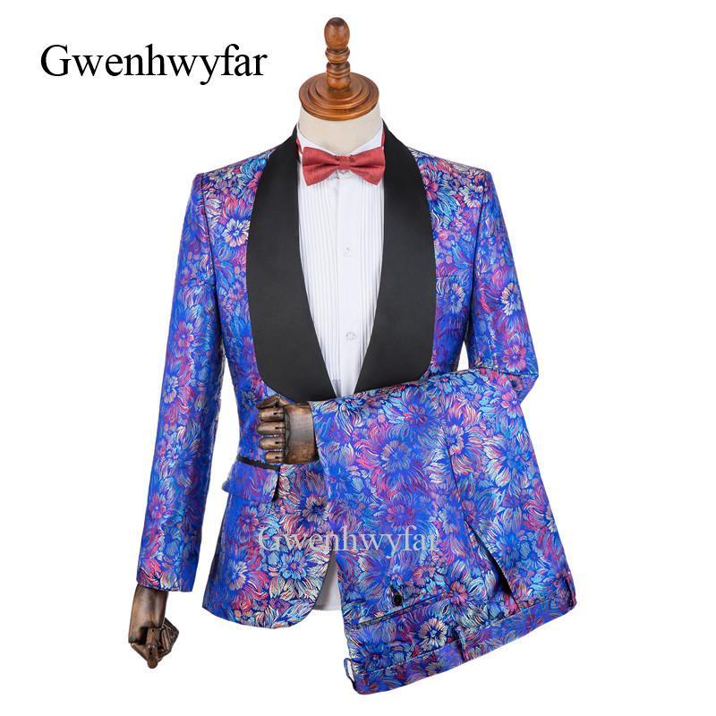 Compre Diseño Al Por Mayor Colorido Jacquard Hombres Traje Azul Oscuro 2  Piezas Elegante Esmoquin Trajes De Novio Personalizados Prom Blazer Terno  Masculino ... d4dc3903951