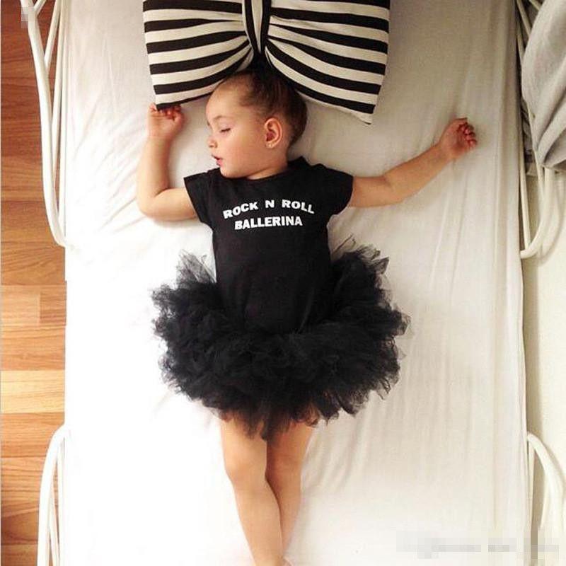 Acheter Bébé Filles Robe De Ballet Barboteuse Enfants Lettres Impression  Tutu Robe Danse Barboteuse Rock Roll Ballerine Impression À Manches Courtes  Tenues ... 5f5621d722d