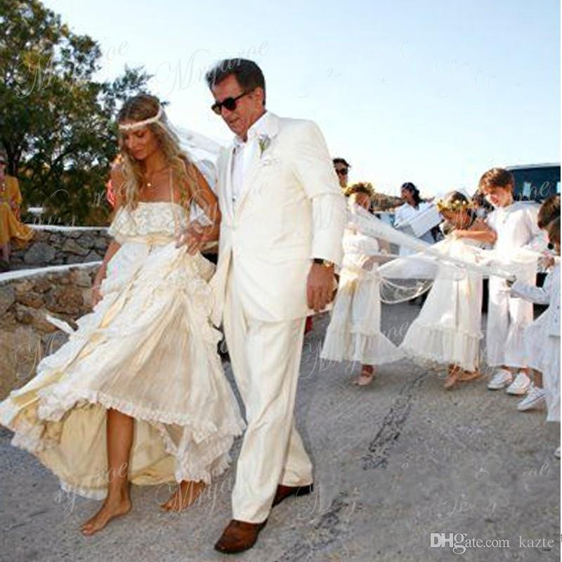 Vintage Hippie Boho Beach Wedding Dresses 2018 Retro Sexy Spaghetti Straps Tiered Crochet Lace Chiffon A Line Gybsy Bridal Gowns