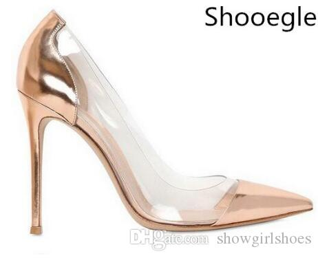 b9f3831831c 2018 Patent leather white gold sliver nude thin high heel pumps Plexiglass  Clear PVC party shoes pointed semi-sheer sapatos feminin