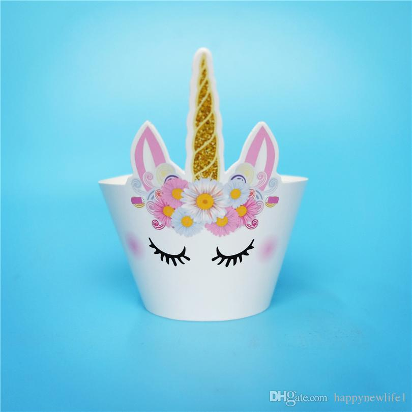 mejor calidad de dibujos animados caballo Unicornio magdalena envolturas para niños fuentes de la fiesta de cumpleaños suministros de la boda