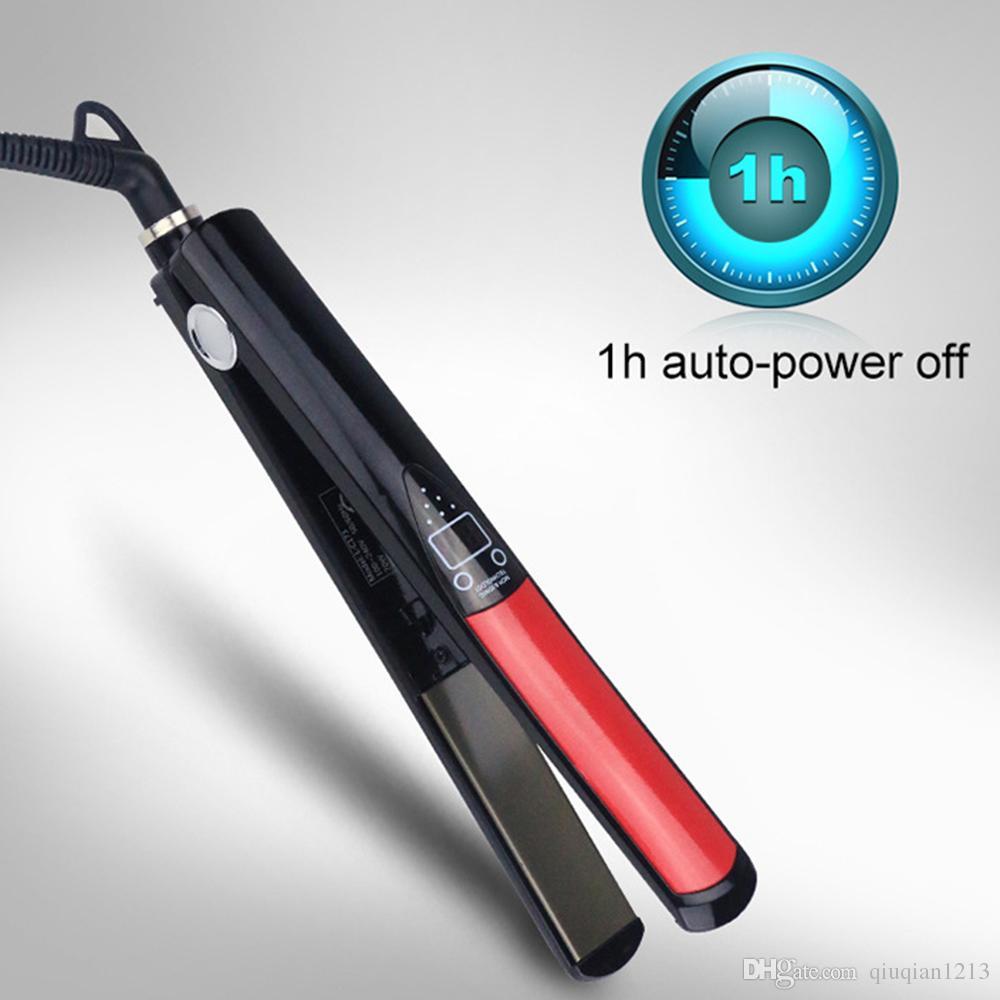 Yeni Pro Saç Düzleştirici 1 Inç Titanyum / Seramik Kızılötesi Düz Demir Doğrultma Ütüler Şekillendirici Aracı LED Dijital Ekran Saç Düzleştirici