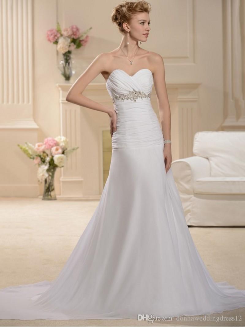 8a2234aff3 Vestido De Noiva Hot Sale Empire Waist Appliques Pleats Mermaid Wedding  Dress Sweetheart Chiffon Lace Up Wedding Gowns Robe De Mariage Cheap Mermaid  Wedding ...