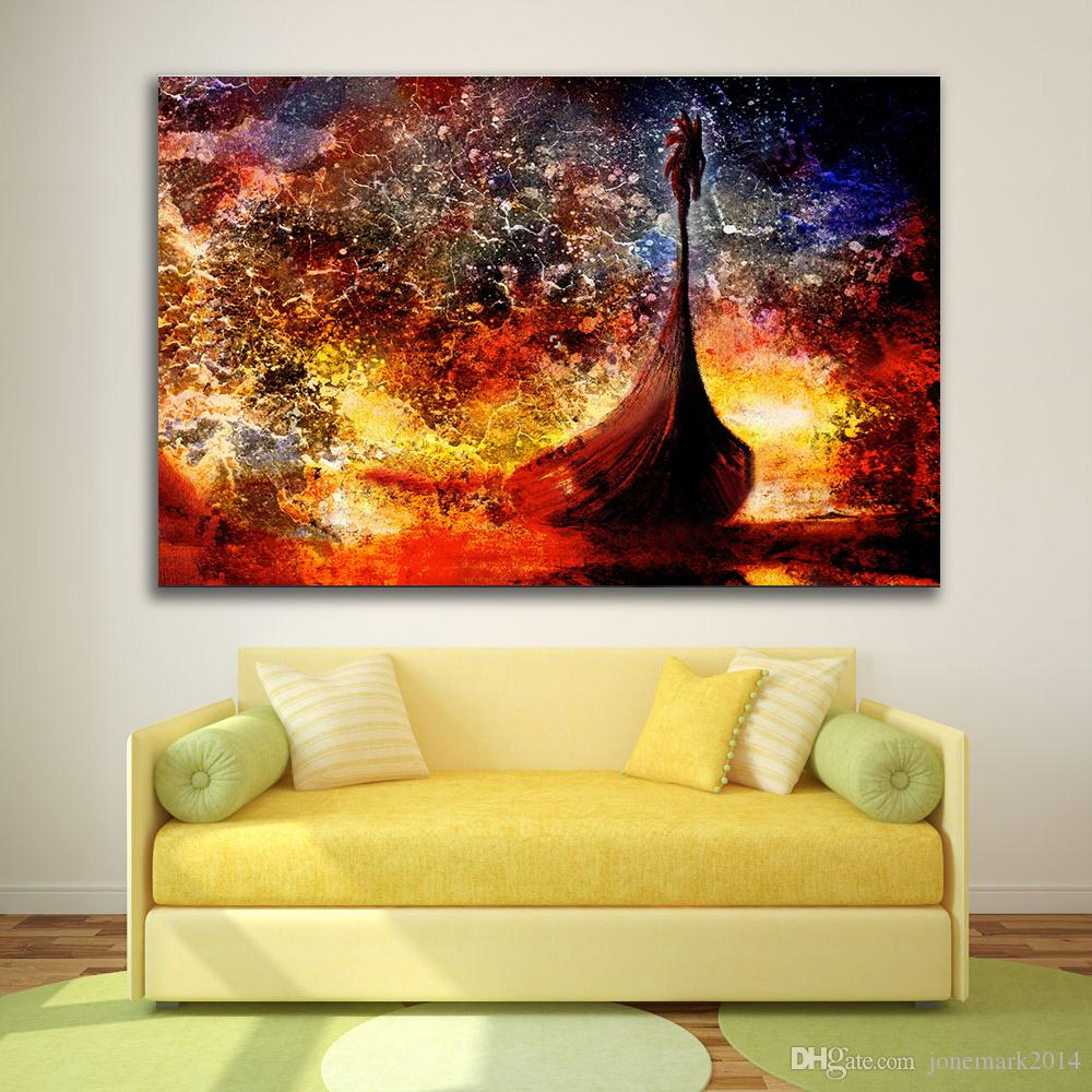 2018 Viking Boat On The Beach With Wood Dragon Wall Pictures Modern ...