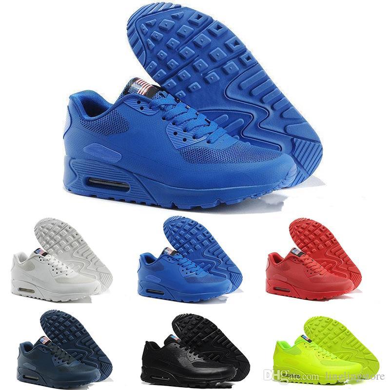 best website c0e3b e9ec3 Acheter Nike 2018 Nouveau Hyperfus Classique 90 USA Drapeau Jour  Fluorescence Vert Chaussures De Course Pas Cher Top Qualité Hommes 90 S  Zapatillas Casual ...