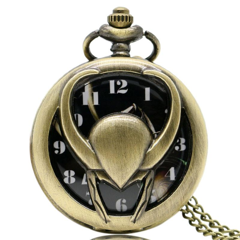 Hollow 3d Loki Symbol Pocket Watch Classic Marvel Series Slim