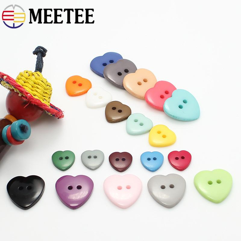 Meetee 12 5mm-20mmMixing Colors Resin Heart Shaped Buttons For Children  Clothes Shirt Carton Garment Accessories Buttons C4-9