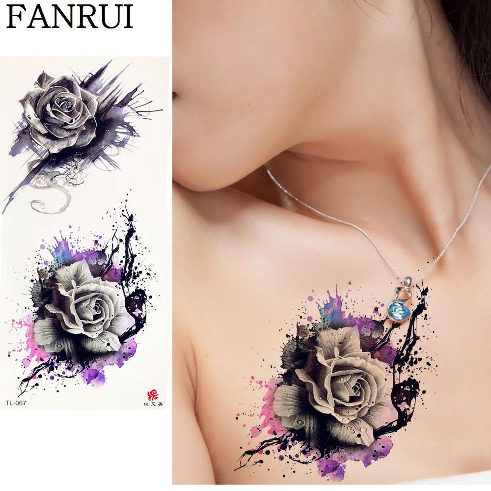 Großhandel 20 Stil 3d Rose Temporäre Tattoo Aufkleber Blume Frauen