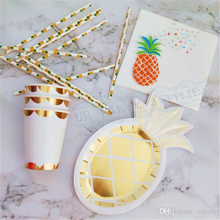2019 Foil Gold Pineapple Paper Tableware Paper Plates Dishes Cups