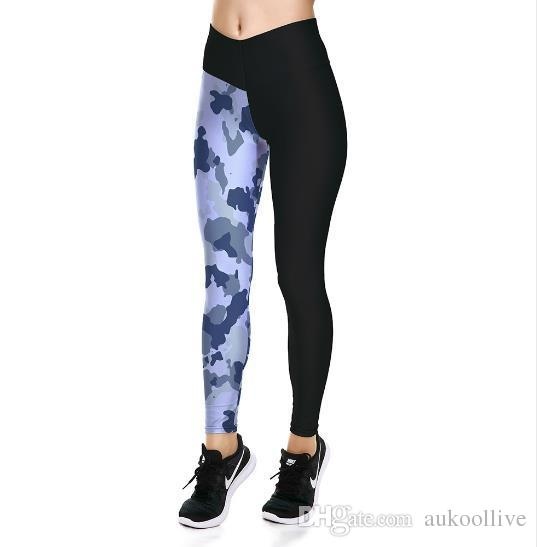 f5aa0d4fc3f06 Black-Blue Camouflage Printed Ankle-Length Yoga Sports Pants High Waist  Women's Yoga Leggings Quick Dry Breathable Pants