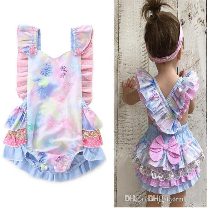67b93d6e3 Ins Romper Summer Infant Baby Sleeveless Colorful Ruffles Bowknot ...