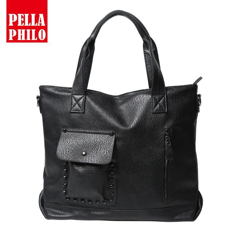 c5ab65c26283 2018 New Famous Brands Cow Leather Designer Handbags Black Vintage Laptop  Bags Zipper Solid Rivet Casual Men Messenger Bags Ladies Purses Tote  Handbags From ...