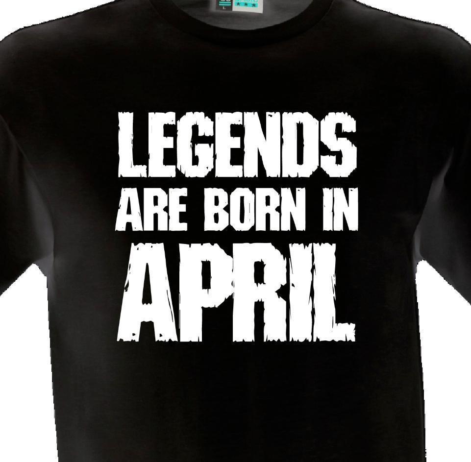 e41caec17c948 Compre Leyendas Nacen En Abril Camiseta Camiseta Regalo Presente Cumpleaños  Mes Nacimiento Año A  12.08 Del Lijian16