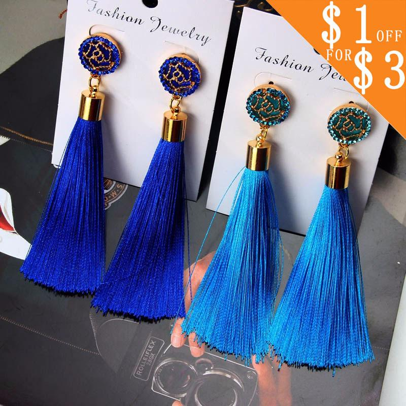 Bohemian Crystal Tassel Earrings Silk Fabric Exaggerated Rose Flower Long Drop Dangle Tassel Earrings For Women Jewelry CS11