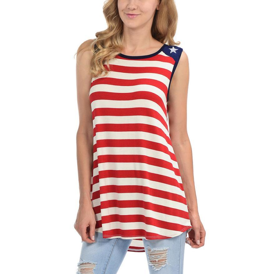 6d9a26cfbb50e5 2019 New Women S Vest T Shirts American Flag Tank Tops Shirt Summer Sleeveless  Loose Fit Camisole Tunic Vest Pullover Female Clothing From Qingchung