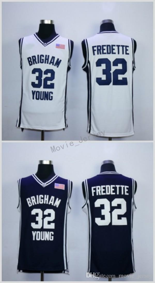 online store 88baf f72be Cheap Brigham Young Cougars Jimmer Fredette College Basketball Jerseys 32  Jimmer Fredette Stitched Navy Blue Shirts White University Jersey