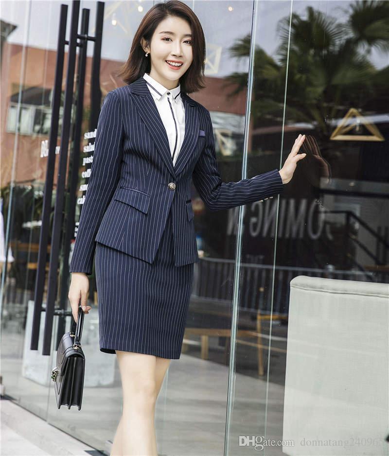 Herbst 2018 S-3XL Solide Damen Jacke Kleid Anzüge Plus Größe OL Kleid Elegante Mantel Bodycon Kleid Sets Frauen Zwei Stücke sets