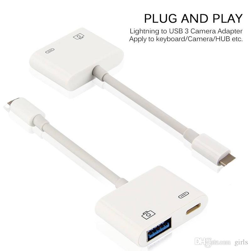 size 40 6609f 9cb77 Lightning to USB 3 Camera Reader Adapter Cable For iPhone 5S 6 7 8 Plus  iPhoneX iPad iOS11 Data Sync Charge Kable Professional Connector