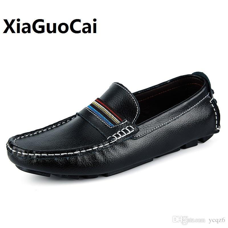 ac862643e4d516 Big Size 38-47 Spring Autumn Men Casual Shoes Genuine Leather Breathable  Drive Shoes Walking Flat Boat Shoes for Man Slip On Men Casual Shoes Genuine  ...