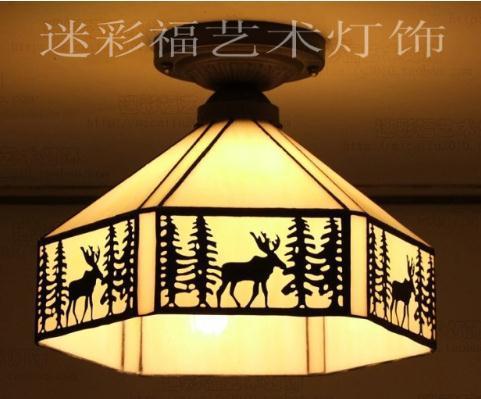 Lampadari E Plafoniere Tiffany : Acquista tiffany nordic forest alce plafoniera in vetro colorato