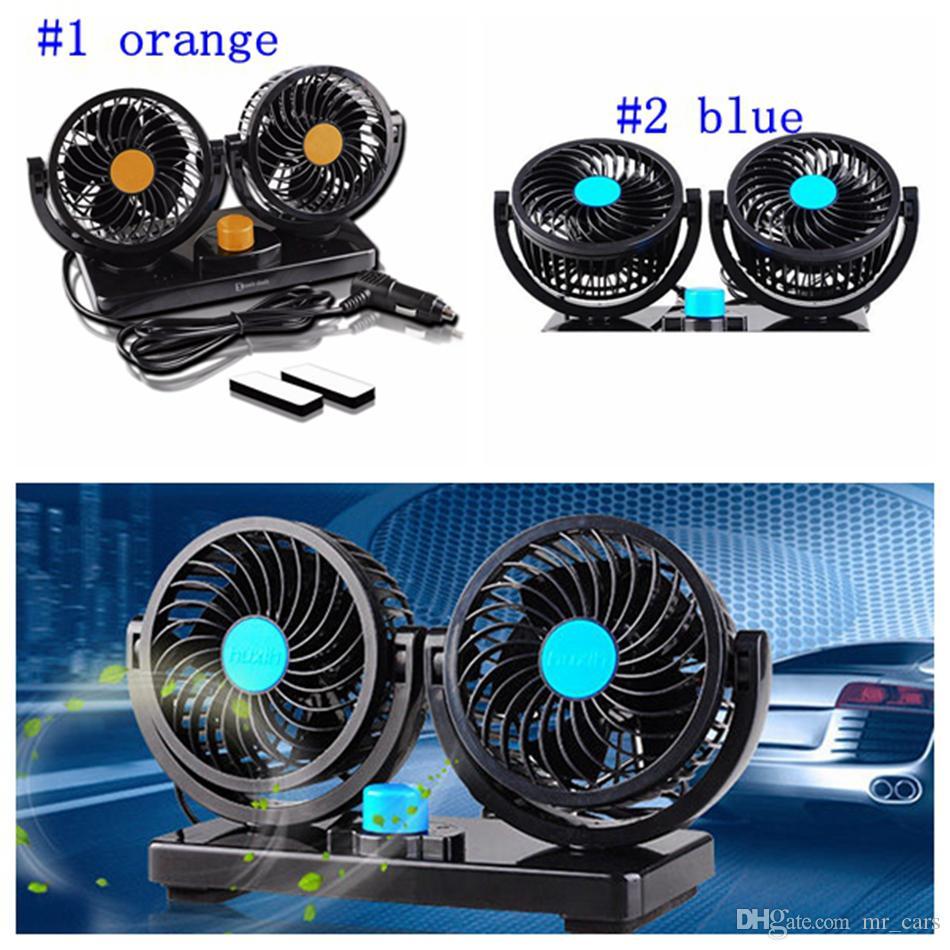 DC 12V/24V Auto Car Fan 360 Degree Rotatable Powerful ABS Fans Adjustment  Dual Head Car Auto Cooling Air Fan LJJM29