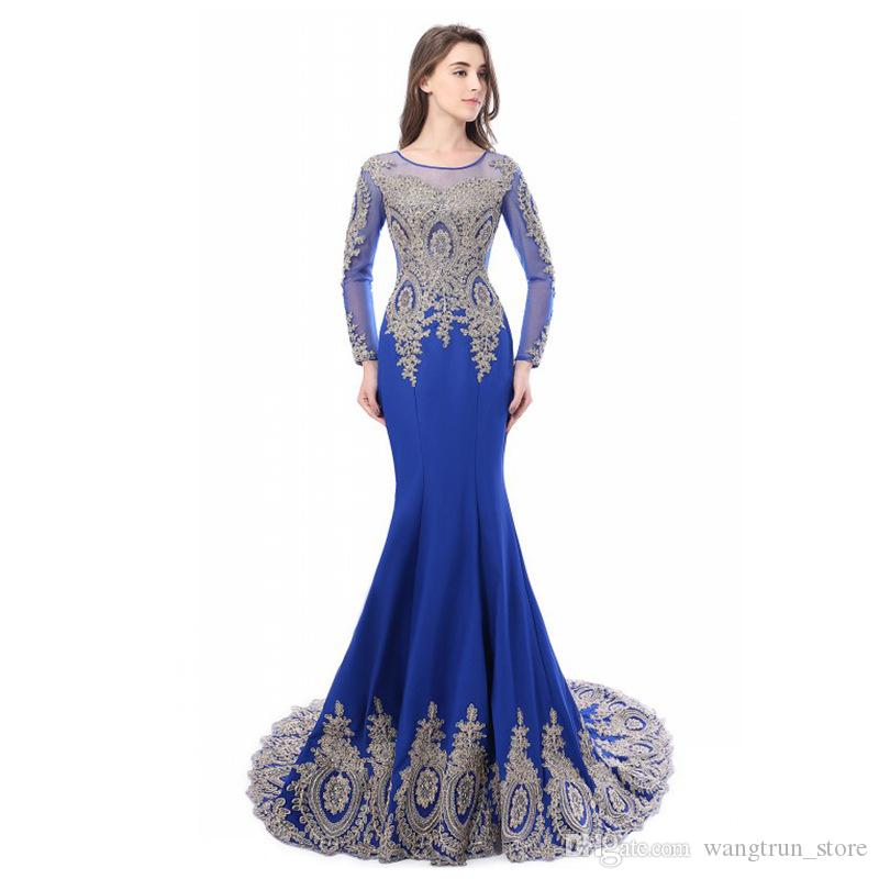 fef0d60e2f33c Satın Al Siyah Anne Gelin Elbiseler Uzun Kollu Mermaid Altın Aplike  Kadınlar Abiye Elbise Scoop Boyun Çizgisi, $119.6 | DHgate.Com'da