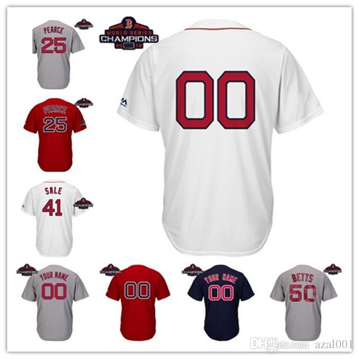 san francisco 437a5 4c970 Youth Boston Red Sox 2018 World Series Champions Patch Mookie Betts Andrew  Benintendi Steve Pearce kids Joe Kelly Baseball Jersey