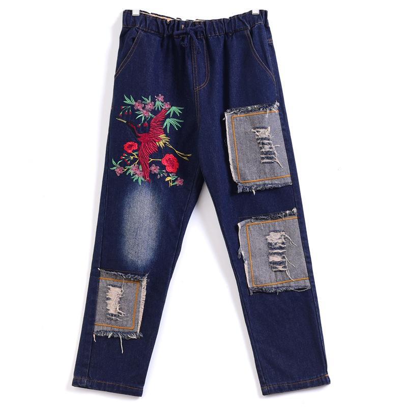 dc847114c94 Compre Patchwork Cintura Elástica Jeans Mujer Novio Denim Rasgado Delgado  Jean Con Bordado A Mano De Las Mujeres Chinas Pantalones De Mezclilla De  Cintura ...