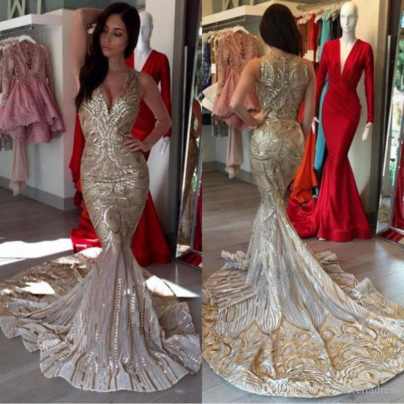 2018 Luxury Special Gold Mermaid Prom Dresses V Neck Sequins Sexy African Prom  Gowns Women Party Dresses Evening Arabic Short Tight Prom Dresses Strapless  . 0b03da50fbd2