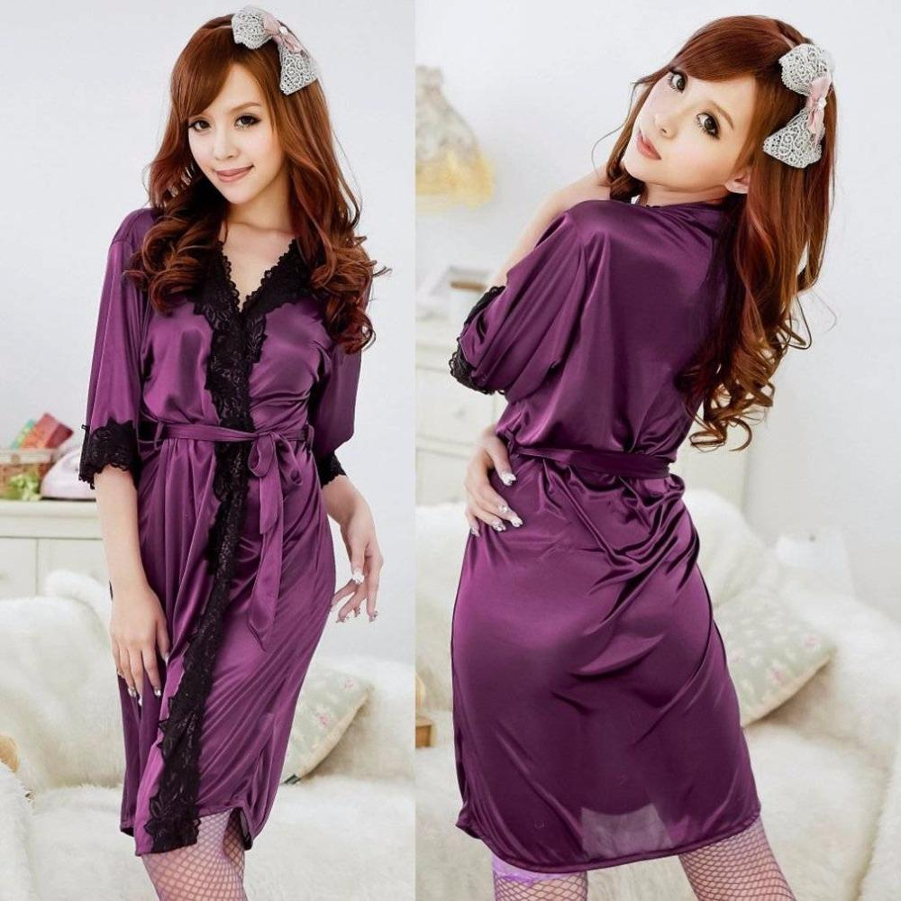 02ada913bf11 2019 2018 New Sexy Women Bathrobes Lady Night Sleepwear Purple Evening  Sleep Wear Kimono Lounge Robe Lace Bathrobe Dressing Gown From Guchen3