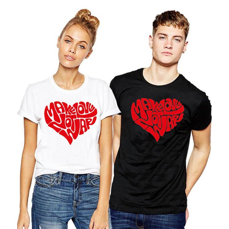 33a23d02e854 Enjoythespirit 100% Cotton COUPLE T Shirt Make Love Not War Funny Plus Size  TShirt White Black Loose Confortable Tee Xs 3xl T Shirts Design Designer T  ...
